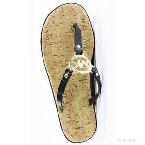 Authentic Michael Kors Jelly Logo cork flip flops